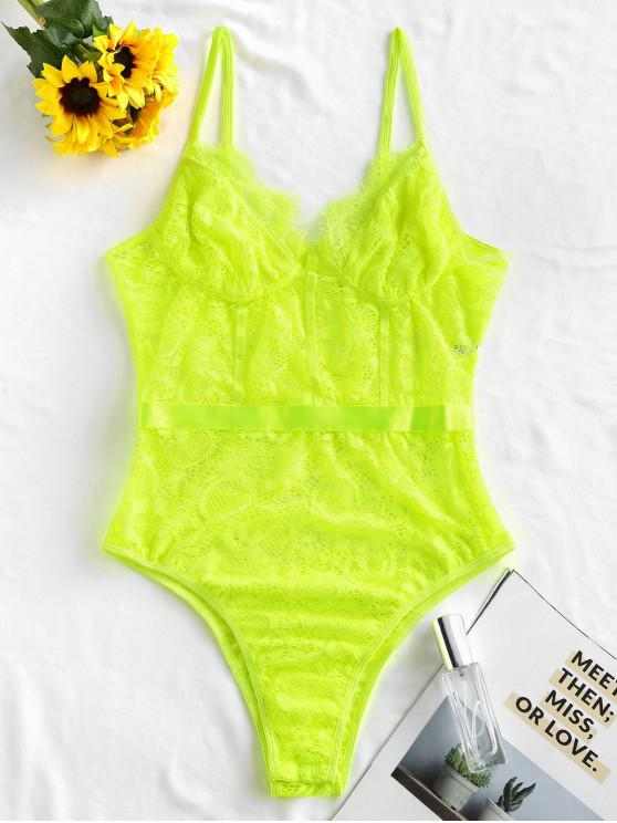 ladies Cami Lace High Leg Teddy - GREEN YELLOW M