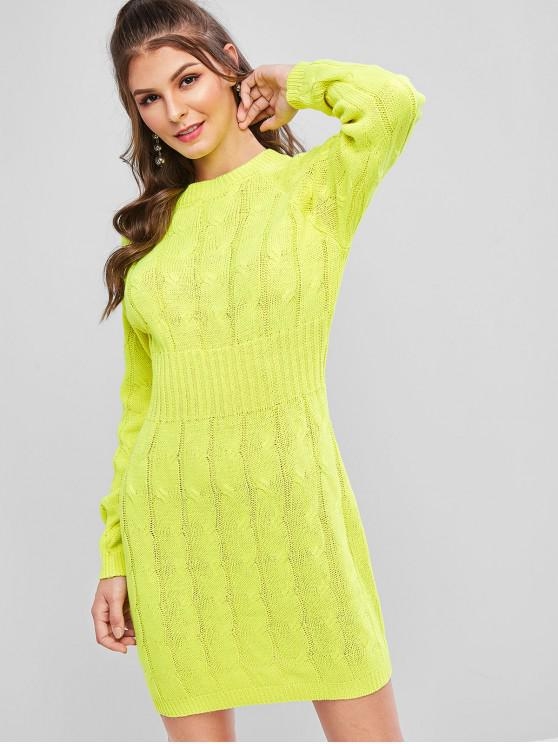 affordable Neon Cable Knit Raglan Sleeve Bodycon Sweater Dress - BRIGHT YELLOW ONE SIZE
