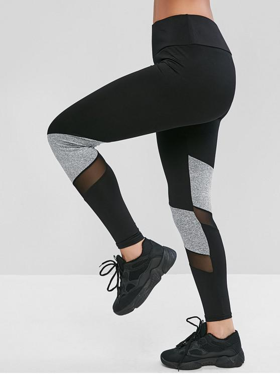 outfits Pull On Color Block Mesh Panel Leggings - BLACK XL