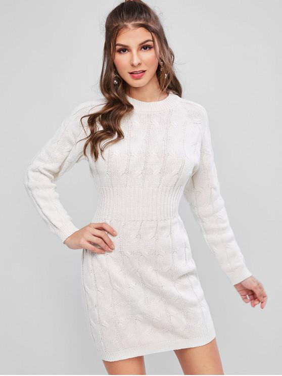 trendy Cable Knit Raglan Sleeve Bodycon Sweater Dress - WHITE ONE SIZE