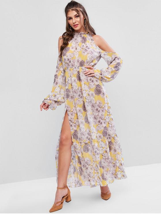 womens Flower Ruffle Neck Cold Shoulder Slit Maxi Dress - MULTI-A S