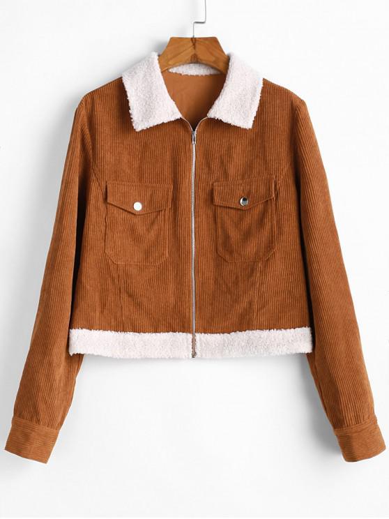 women's ZAFUL Shearling Insert Pocket Corduroy Jacket - TIGER ORANGE S