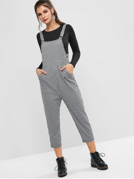 outfit ZAFUL Gingham Capri Pinafora Jumpsuit - MULTI-A M