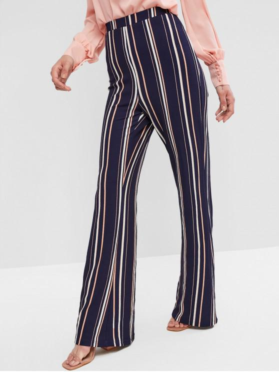 affordable ZAFUL High Waisted Flare Stripes Pants - CADETBLUE S