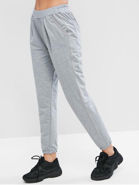sale Pocket Mid Waisted Jogger Gym Pants - DARK GRAY XL