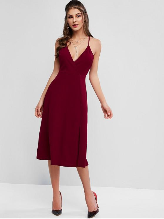 chic ZAFUL Plunging Cutout Back Midi Slit Party Dress - CHESTNUT L