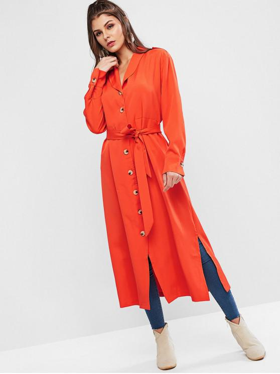 women Drawstring Button Up Shawl Collar Slit Long Coat - ORANGE L