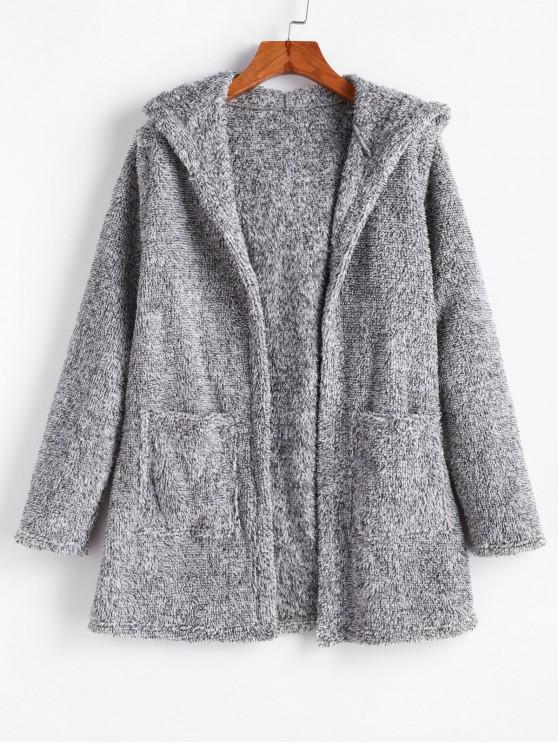 buy ZAFUL Faux Fur Hooded Pocket Open Front Coat - GRAY CLOUD S