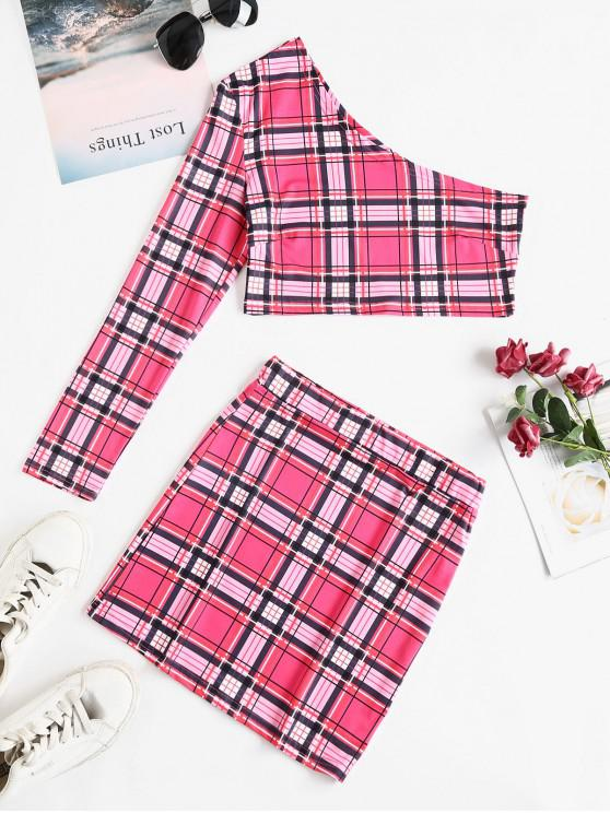 womens Plaid One Shoulder Crop Two Piece Suit - PINK L