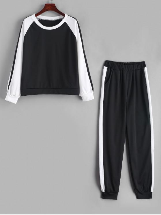 shop Bird Embroidered Raglan Sleeve Color Block Pants Set - BLACK M