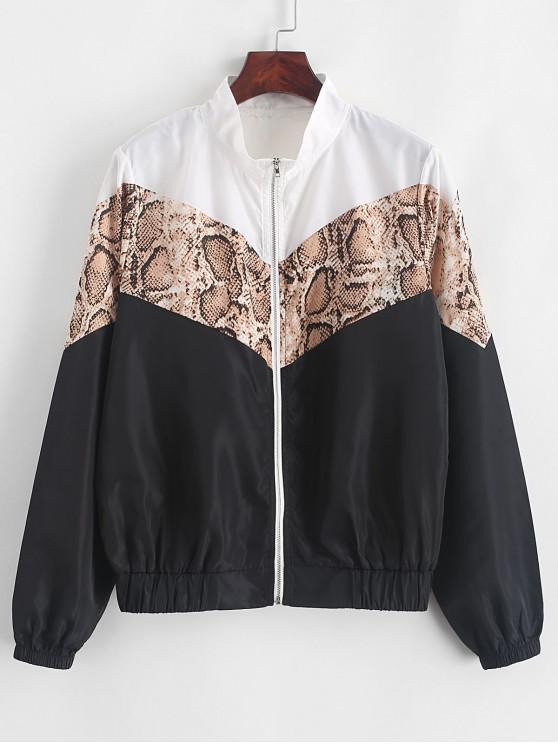 women ZAFUL Snakeskin Panel Windbreaker Jacket - BLACK M