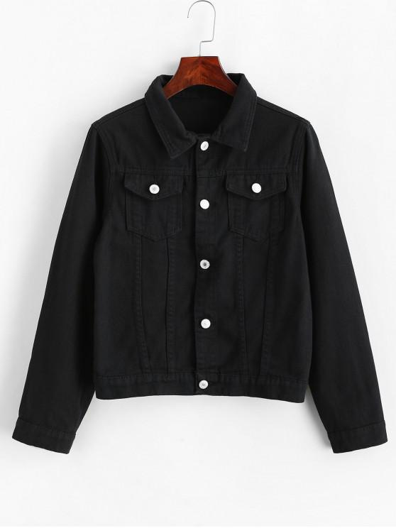 outfit Button Front Flap Pockets Jean Jacket - BLACK XL