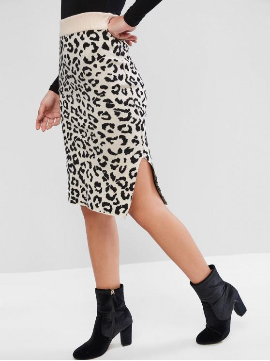 outfits Leopard Slit Knitted Knee Length Pencil Skirt - LEOPARD ONE SIZE