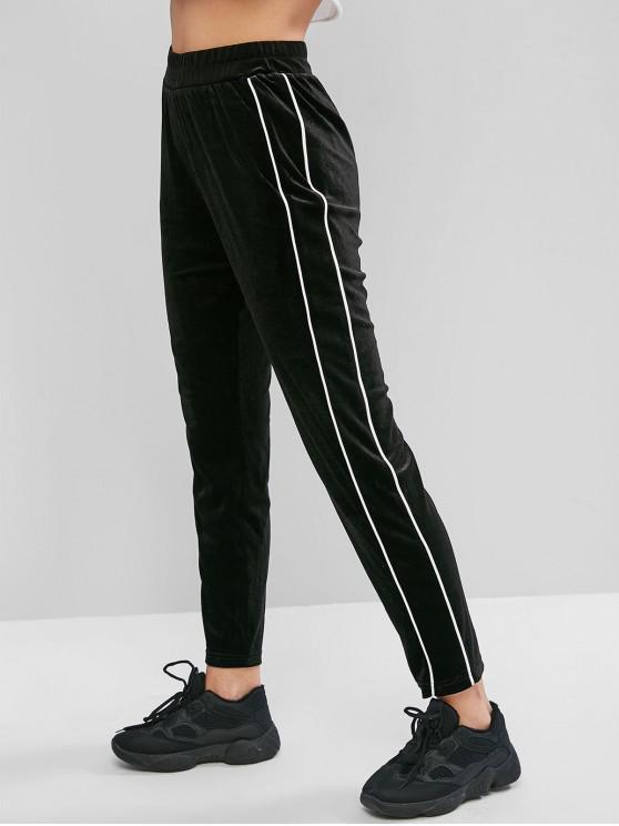 hot ZAFUL Velvet Contrast Piping High Waisted Pants - BLACK M