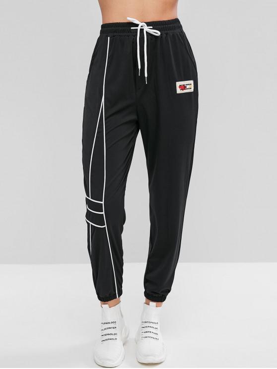 shops Pockets Drawstring Slogan Patched Jogger Pants - BLACK M