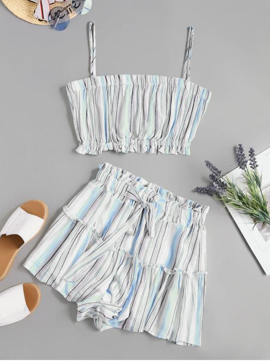 ladies Two Piece Knotted Stripes Paperbag Shorts Set - BLUE M