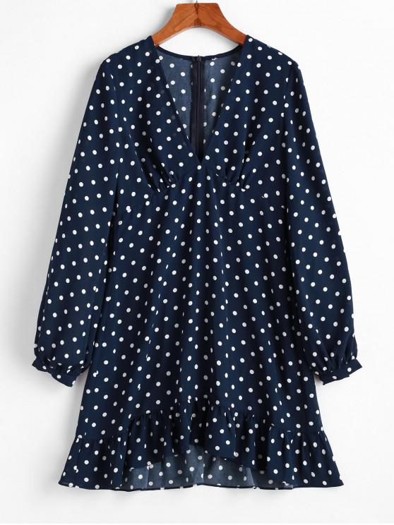 hot ZAFUL Polka Dot Plunging Flippy Hem Dress - CADETBLUE M