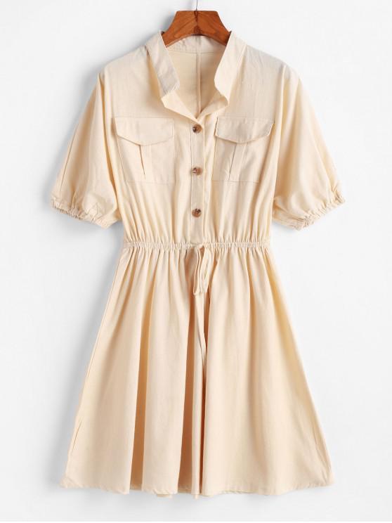 womens Pocket Half Button Tie A Line Dress - BLANCHED ALMOND XL
