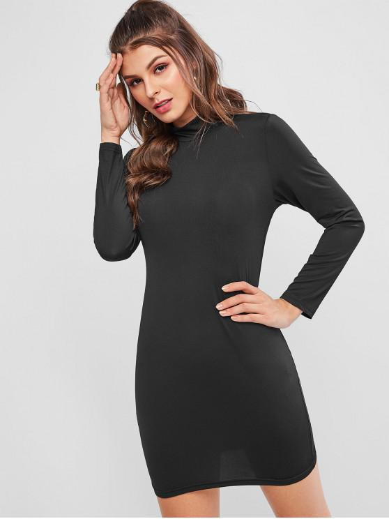 lady Long Sleeve High Neck Mini Bodycon Dress - BLACK XL