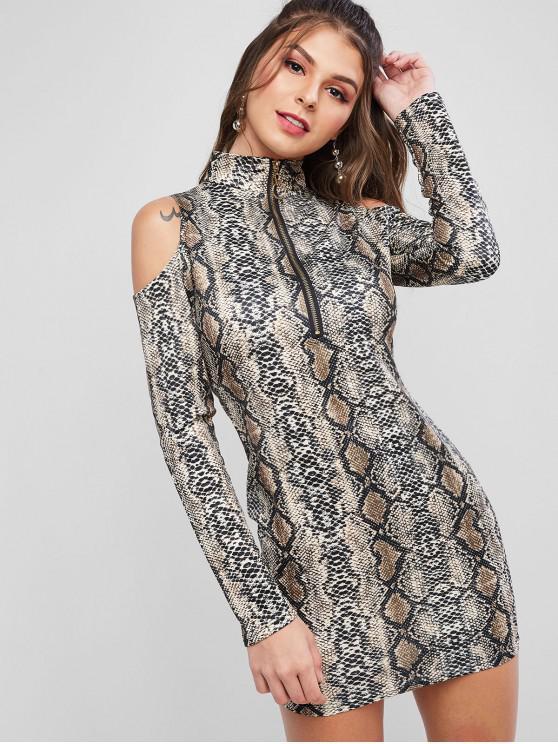 hot Snake Print Open Shoulder Bodycon Mini Dress - MULTI-A M