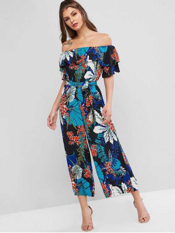 chic Off Shoulder Floral Ruffles Wide Leg Jumpsuit - MULTI-A L