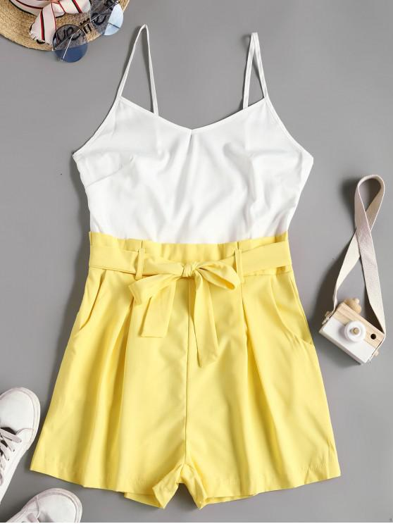 affordable Two Tone Belted Paperbag Cami Romper - WHITE L