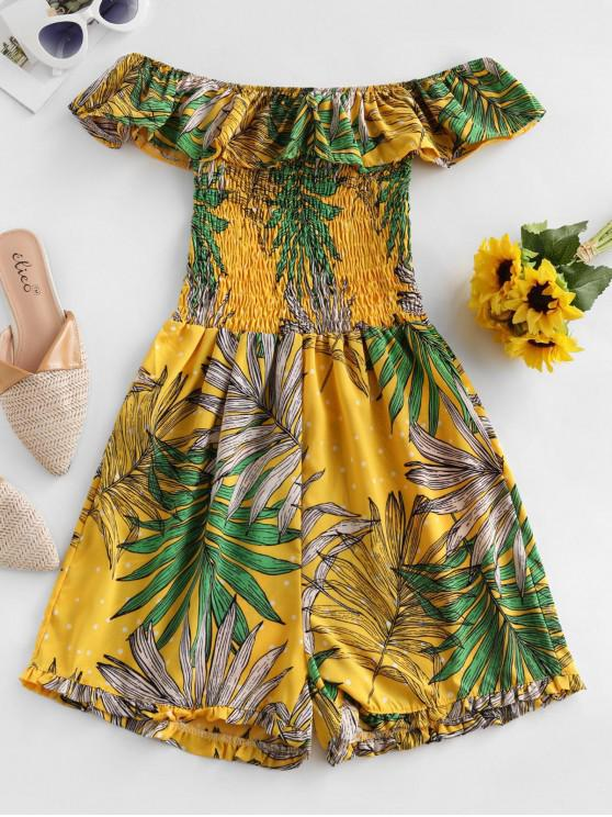 womens Smocked Ruffles Leaves Print Off Shoulder Romper - SUN YELLOW M