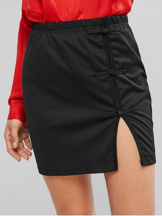 sale Frog Button Slit Mini Bodycon Skirt - BLACK L