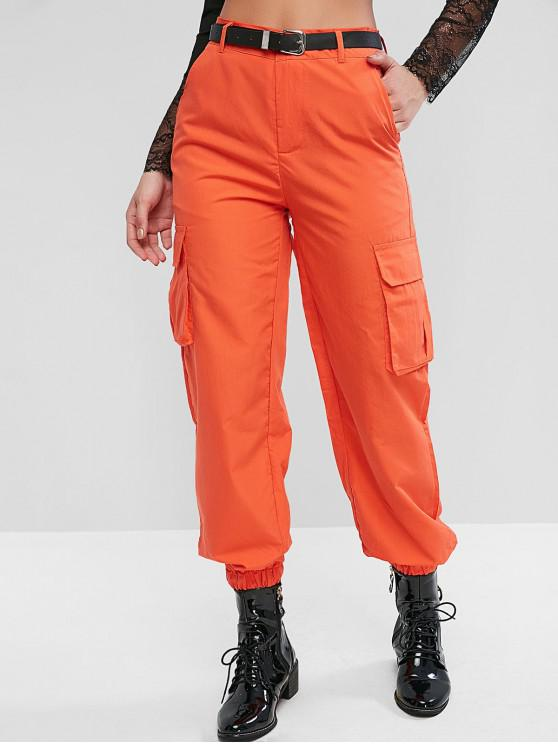sale High Waisted Solid Jogger Pants - ORANGE XL