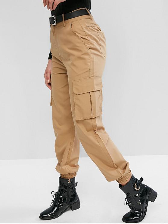 new High Waisted Solid Jogger Pants - LIGHT KHAKI M