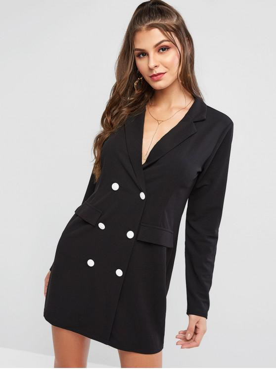 women's ZAFUL Faux Pockets Double Breasted Mini Work Dress - BLACK L
