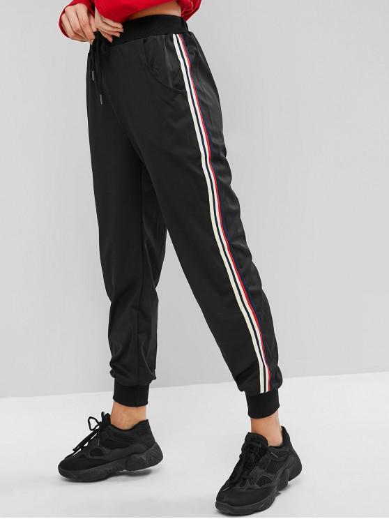 fancy Striped Tape Drawstring Pocket Jogger Pants - BLACK M