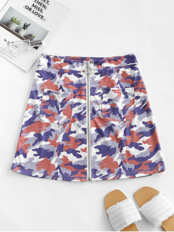 women Zip Front Pockets Camouflage Mini Skirt - MULTI XL