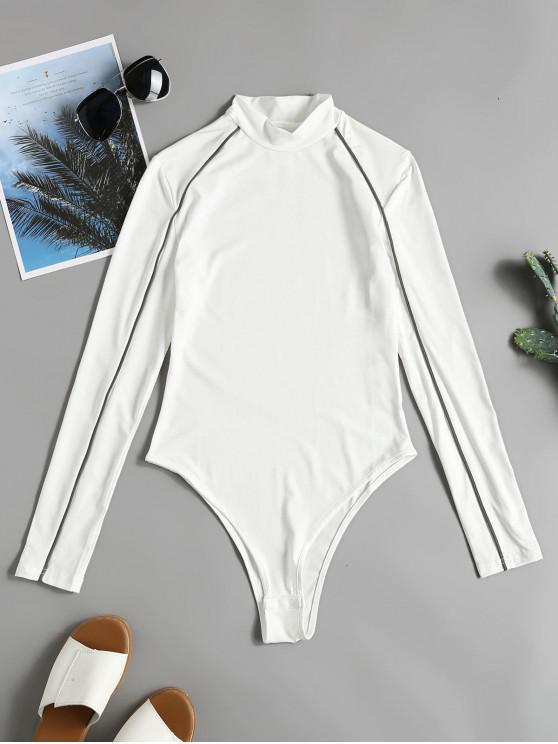 new Mock Neck Piping Long Sleeves Bodysuit - WHITE M