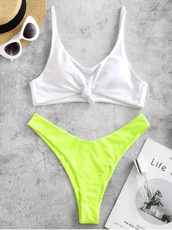 affordable ZAFUL Neon Knotted High Leg Color Block Bikini Swimsuit - GREEN YELLOW M