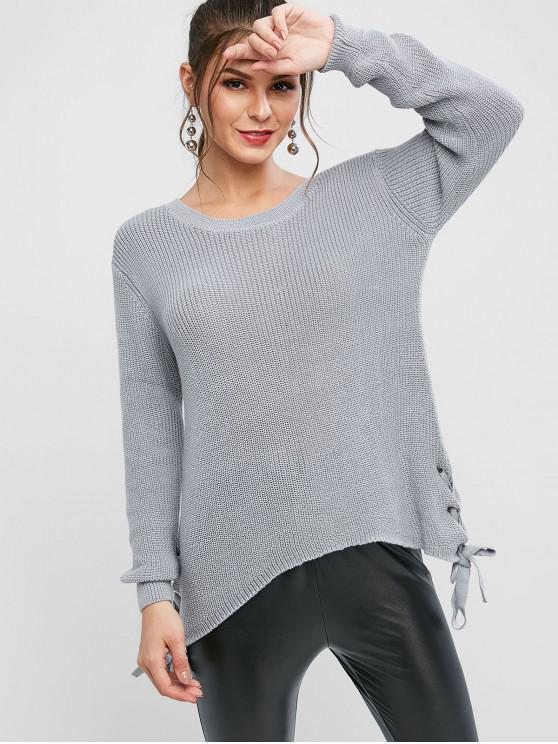 fancy Grommet Lace Up Asymmetrical Textured Sweater - DARK GRAY S