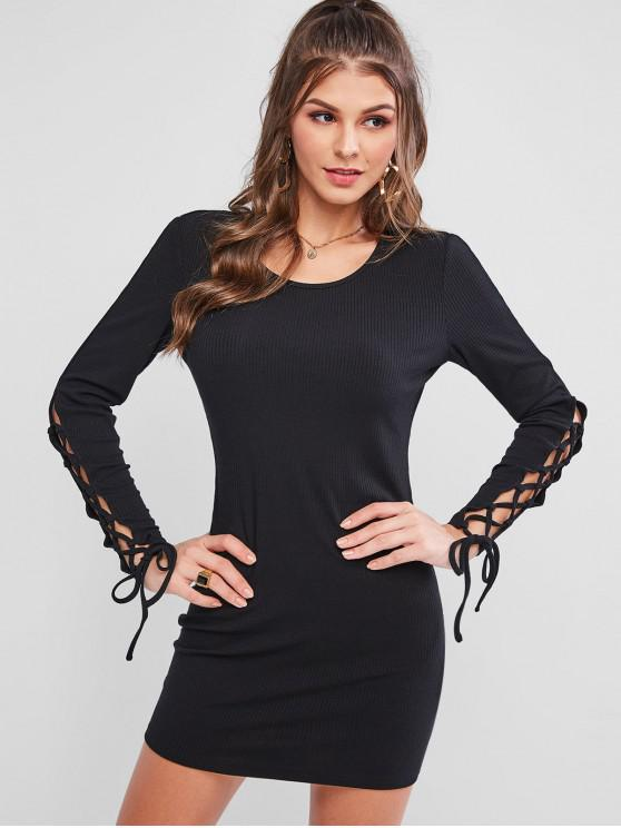 ladies ZAFUL Lace Up Long Sleeve Ribbed Mini Dress - BLACK L