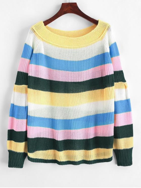 online Off Shoulder Lantern Sleeves Striped Sweater - MULTI-B XL