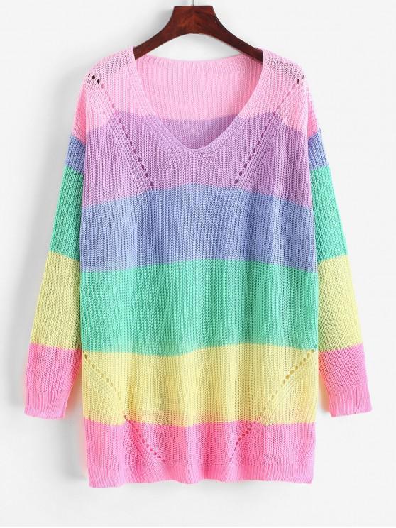 new V Neck Color Block Open Knit Sweater - MULTI-B M