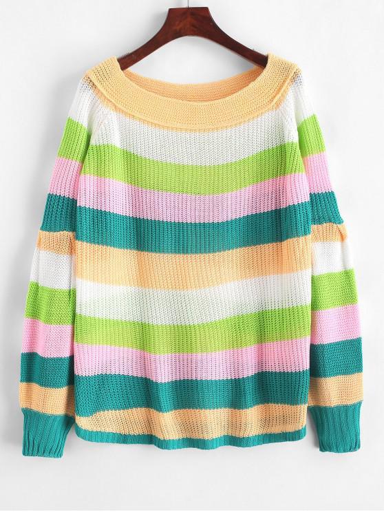 shop Off Shoulder Lantern Sleeves Striped Sweater - MULTI-A L