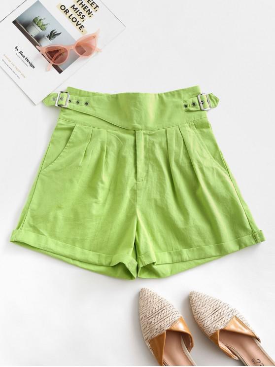 affordable Pockets Buckle Cuffed Hem High Waisted Shorts - GREEN PEAS XL
