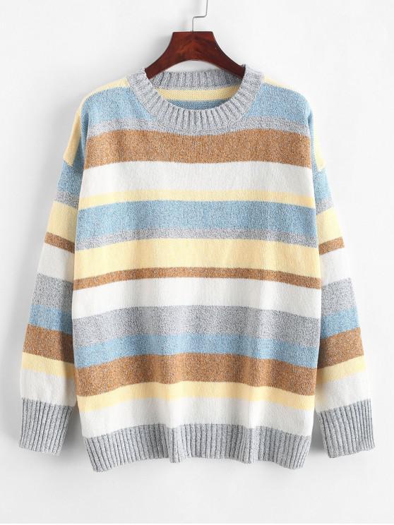 women Contrast Striped Crew Neck Loose Sweater - MULTI-B L
