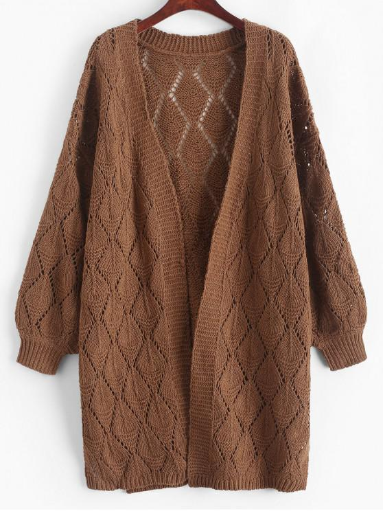 outfits Solid Color Slits Open Knit Cardigan - BROWN S