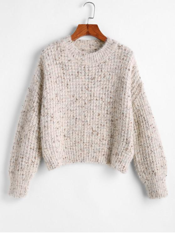 fancy Drop Shoulder Pullover Fuzzy Sweater - APRICOT S