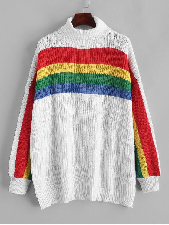 online Rainbow Striped Turtleneck Chunky Sweater - WHITE XL