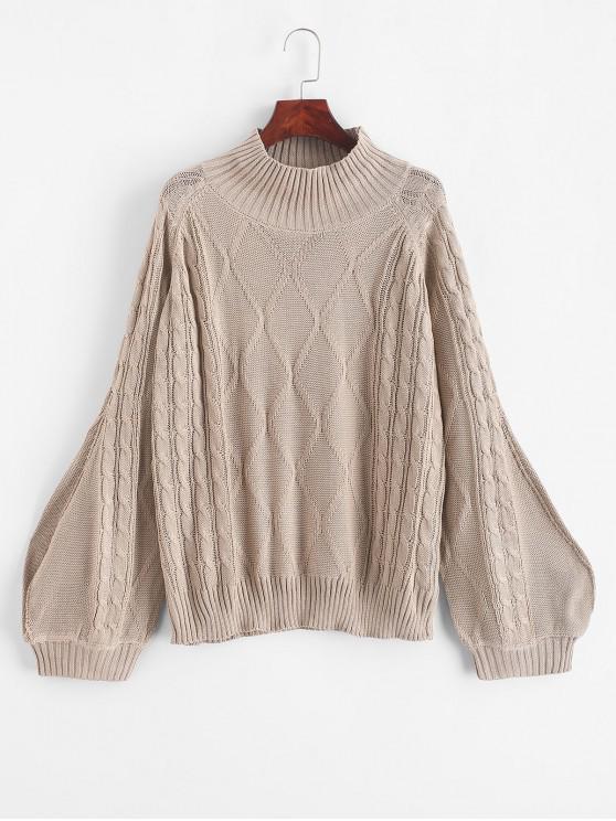 unique Mock Neck Solid Cable Knit Sweater - LIGHT KHAKI S