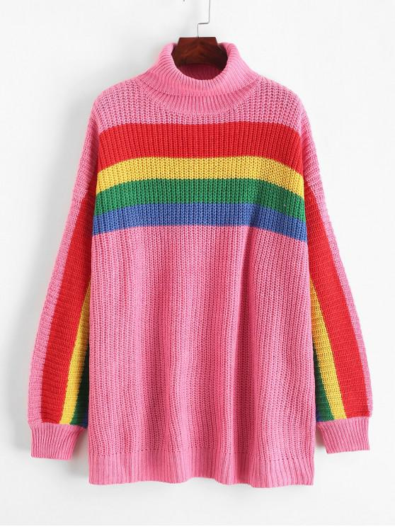 women Rainbow Striped Turtleneck Chunky Sweater - PINK M