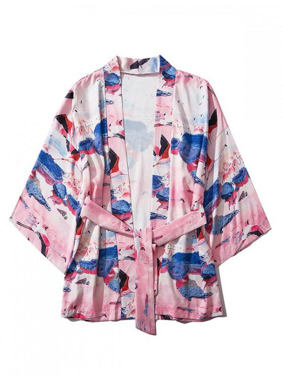 women Flamingo Scenery Print Open Front Kimono Cardigan - MULTI M