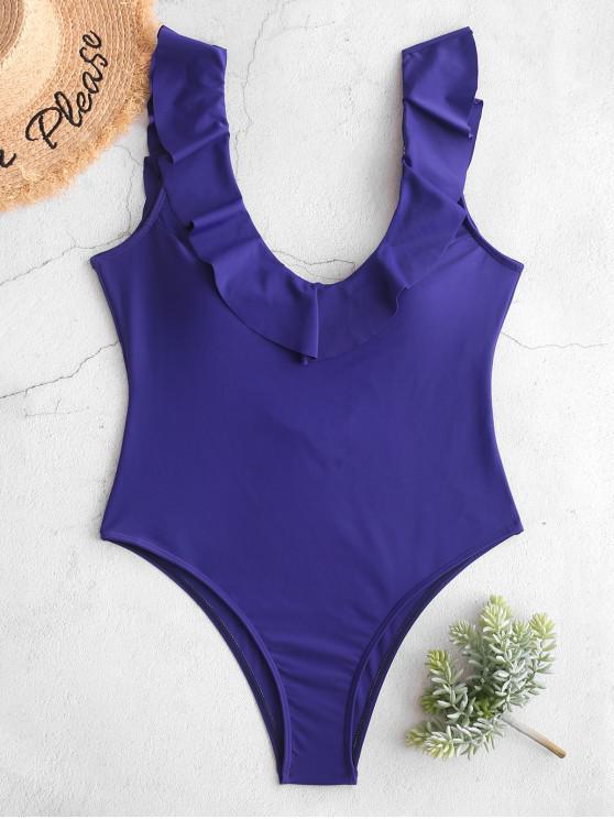 womens ZAFUL Flounce Plunge Open Back One-piece Swimsuit - COBALT BLUE S