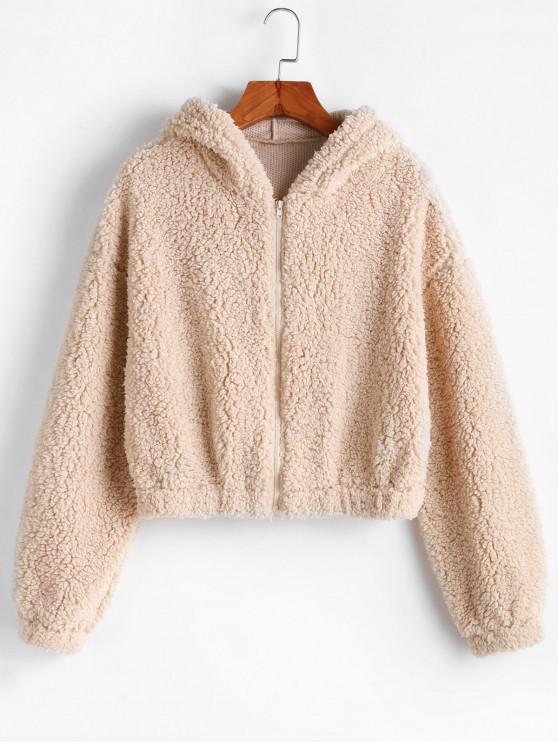 womens ZAFUL Hooded Zip Up Fluffy Teddy Jacket - LIGHT KHAKI S